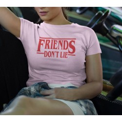 Dam rosa T-shirt inspirerad av Stranger things friends don't lie