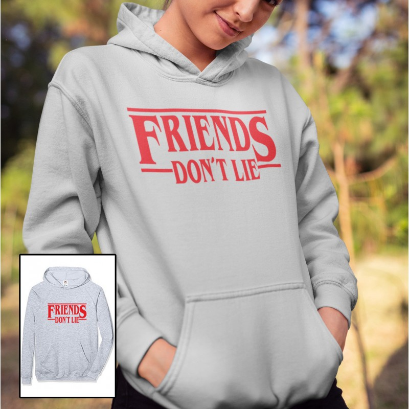 Barn vit T shirt inspirerad av Stranger things Friends don't lie